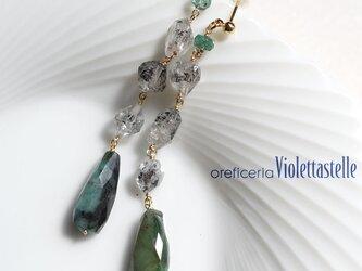 14kgf エメラルドとハーキマーダイヤモンドのロングピアス Vr.1の画像