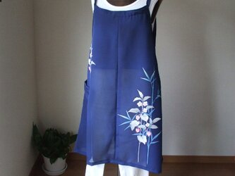優しいお花が青地に映える絽(付け下げの着物)からのキャミソール風スカート 絹の画像