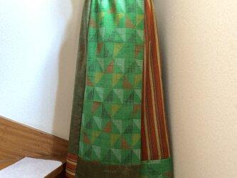 着物から作ったラップスカート 若葉の画像
