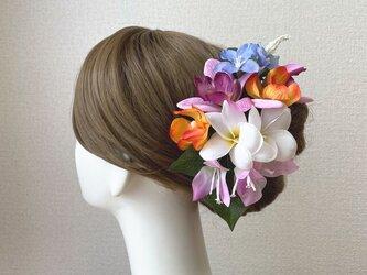 プルメリアとブーゲンビリアのヘッドドレス リゾートウェディング 髪飾り 成人式 結婚式 ヘッドドレス ウェディングの画像