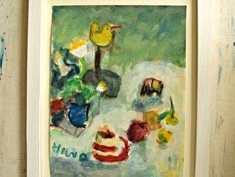 黄色い花と鳥 (額無し)の画像