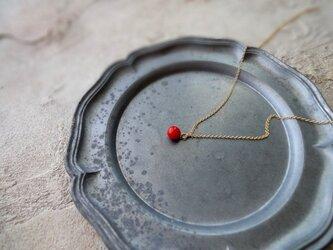 天然石のペンダントネックレス ■ 一粒の幸福 ■ 赤いサンゴ 5mmサイズの画像