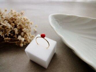 天然石の指輪 ■ 一粒の幸福 14KGF ■ 赤いサンゴ 5mmサイズの画像