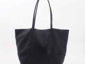 goatleather thin handle tote(black)/山羊革×牛革/T045の画像
