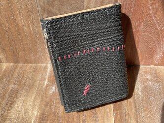 つぎはぎサメ革のミニ三つ折り財布(L字ファスナー)の画像