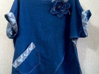 藍の木綿のトップス、スカーフ付きの画像
