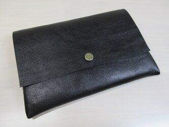 A6、お薬手帳、母子手帳対応・ゴートスキン・一枚革のマルチケース・カードポケット付き・0226の画像