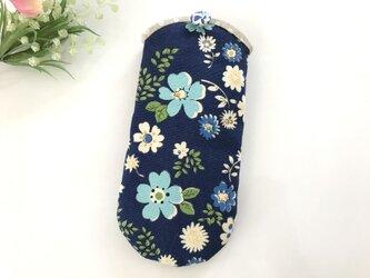 メガネケース 花柄 青の画像