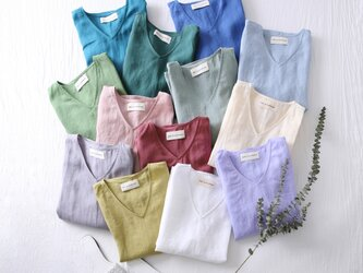 何枚も欲しい!洗練されたシンプルリネンブラウス Tシャツ 13カラー展開 8分袖 Vネック210404の画像