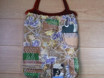 襤褸(らんる・ぼろ)布の古布刺し子トートバック 木綿の画像