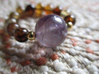 古い紫水晶と龍紋瑪瑙の指輪 護符リングの画像