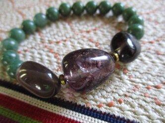 鑑別済み天然緑水晶と煙水晶、色水晶のブレスレットの画像