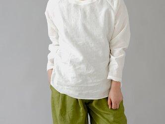 【wafu】超高密度リネン トップス リネンブラウス バックゴムネック 長袖 ラグランスリーブ/ホワイト t049b-wht1の画像