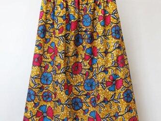 アフリカ布のふんわりギャザースカート|ロングスカート / マキシ丈の画像