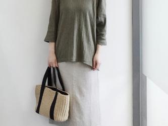春夏 コットンTシャツ 七分袖/コットン100%の画像