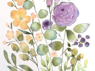 パープルのローズブーケ 水彩画 グラデーション 原画 オリーブユーカリの画像