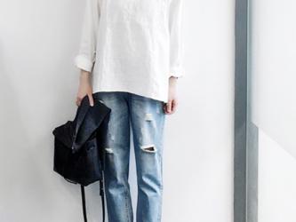 クルーネックシャツ 刺繍長袖シャツ  レディース  コトン  トップスの画像