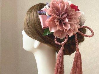 成人式・結婚式・卒業袴に♡ピンクのダリアと椿の着物髪飾り タッセル 和装 成人式髪飾り 和装婚 成人式 前撮りの画像