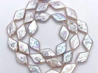 連材 40cm 高品質 ひし形 淡水パール ダイヤ型 バロック 14~16mm*8~9mm パーツ ルース 素材の画像
