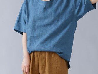 【wafu入門編】数量限定! リネンドロップショルダーTシャツ 男女兼用/薄縹(うすはなだ) t025e-ush1の画像