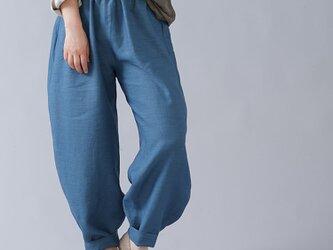 【wafu入門編】数量限定! リネンボールパンツ 男女兼用 ポケットなし やや薄手/うすはなだ b013r-ush1の画像