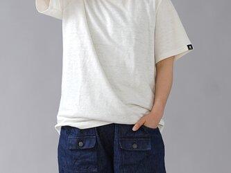 【wafuオリジナル】唯一無二のリネン100% Tシャツ 縮むのでその分大きくしています。/白 t020e-wht3の画像