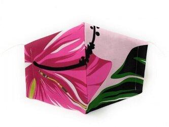 ハワイアン ファブリック ファッション・3Dマスク(扇型)ハイビスカス ピンク Lサイズ [mfm3Q-175L]の画像