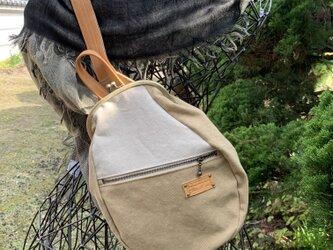 『受注製作品』がまぐちBody Bag15(F) 倉敷帆布 ベージュ系の画像