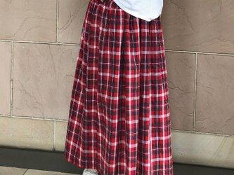レッドチェックティアードスカート裏地付き 受注製作の画像
