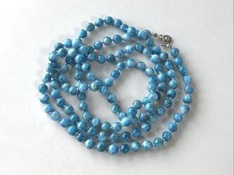 青いネックレス No.3/ブルーアパタイト, 天然石の画像