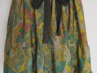 5594 花柄の着物で作った膝丈スカート #送料無料の画像