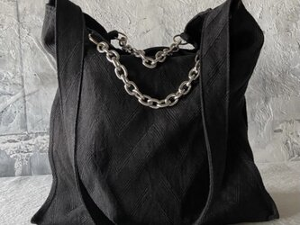french linen herringbone 2way bag (black)の画像