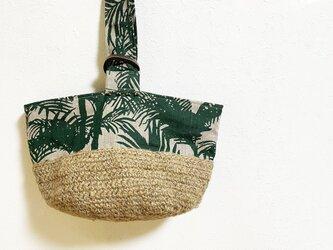 トロピカル柄+ナチュラル麻糸編みかばんの画像