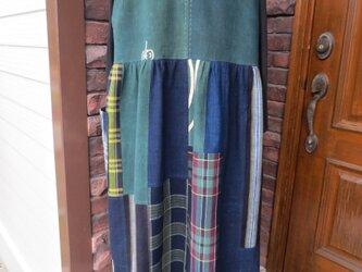 古布リメイク 2wayジャンバースカート 藍染 刺し子 襤褸 一点物 ハンドメイドの画像