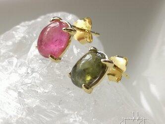 ★一点物★宝石質マルチカラートルマリンAAA(ピンク&グリーン)✽一粒silver925素材ポストピアスの画像