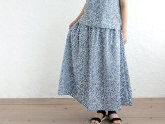 リネン フラワープリントフレアスカートの画像