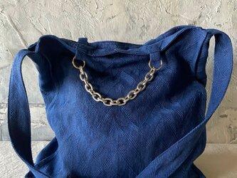 french linen herringbone 2way bag (ink blue)の画像