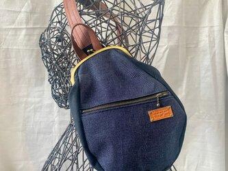 『受注製作品』がまぐちBody Bag15(F)  デニム&ブラック帆布の画像