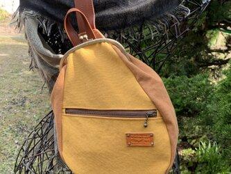 『受注製作品』がまぐちBody Bag15(F) 倉敷帆布 マスタード&キャメルの画像
