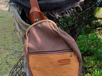 『受注製作品』がまぐちBody Bag15(F)  倉敷帆布ブラウン&キャメルの画像
