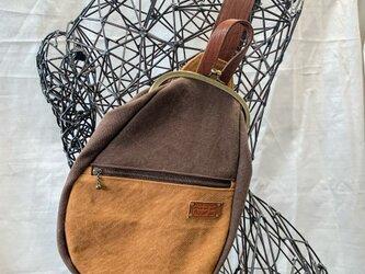 『受注製作品』逆ファスナー がまぐちBody Bag15(F) 倉敷帆布ブラウン&キャメルの画像