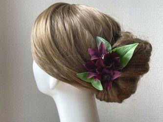 着物髪飾りに♥クレマチスのUピン(バーガンディー 5本セット)の画像