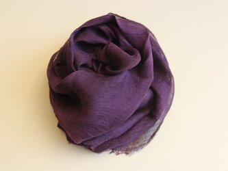 ログウッド染めリネンガーゼストール(深紫色)の画像