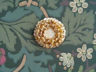 #77  刺繍ブローチ ゴールドベージュの画像