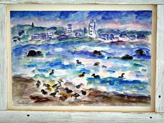 海辺の水鳥の画像