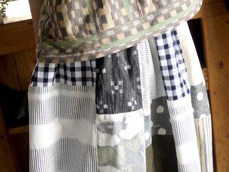 久留米絣ピンタックののフレンチスリーブトップスの画像