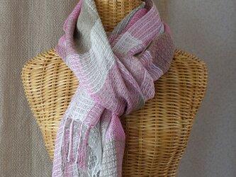 手織りリネンシルクストール・・ピンク×薄茶の画像
