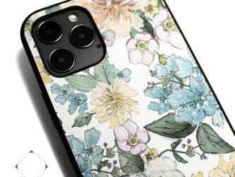 【iPhone13/13pro/13mini/12/11/SE/8~】レザーケースカバー(花柄×ブラック)パステルフラワーの画像