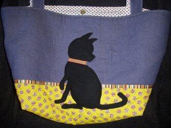 黒猫のアップリケ トートバッグの画像