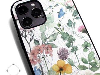 【iPhone13/13pro/13mini/12/11/SE/8~】レザーケースカバー(花柄×ブラック)ナチュラルフラワーの画像
